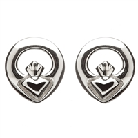 Sterling Silver Contempoary Claddagh Earrings