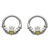 Sterling Silver Connemara Marble Round Claddagh Earrings