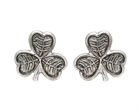 Sterling Silver Shamrock Stud Celtic Earrings
