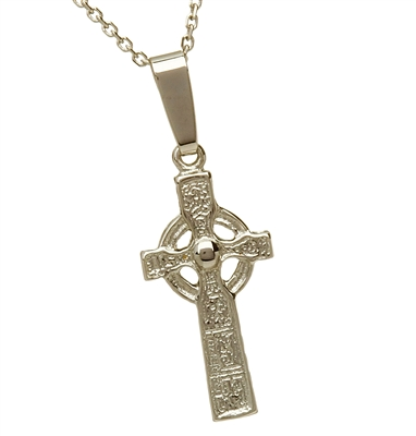 14k White Gold Mini Duleek Celtic Cross 20mm