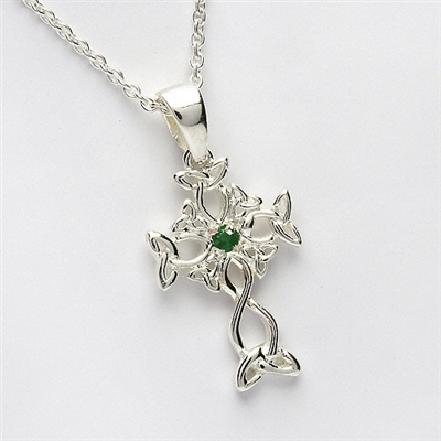 Sterling Silver Small Emerald Celtic Cross 17mm