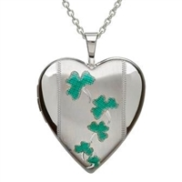 Sterling Silver Green Enamel Shamrock Oval Celtic Locket