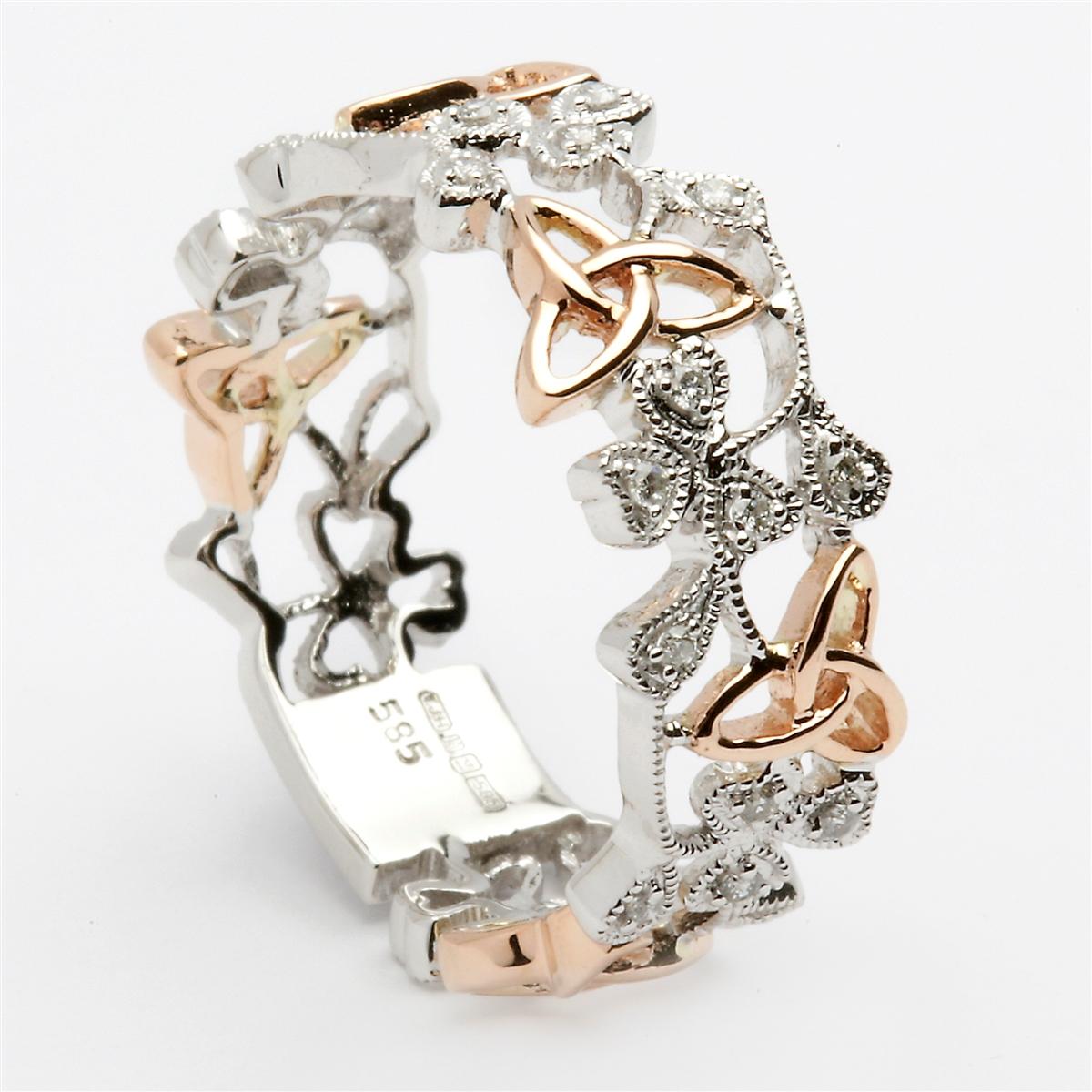 14k White Rose Gold Diamond Trinity Knot Shamrock Ladies Celtic
