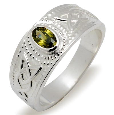 Sterling Silver & Peridot Ladies Celtic Ring