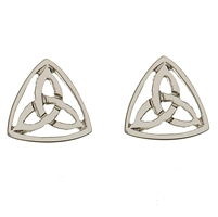 10k White Gold Small Trinity Knot Celtic Stud Earrings
