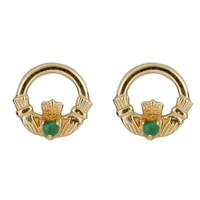 10k Yellow Gold Stud Agate Celtic Claddagh Earrings