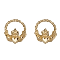 10k Yellow Gold Small Celtic Rope Claddagh Earrings