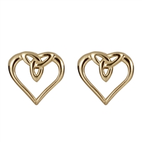 10k Yellow Gold  Heart Shaped Trinity Knot Celtic Stud Earrings