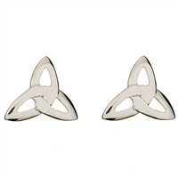 10k White Gold Trinity Knot Celtic Stud Earrings