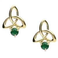 10k Yellow Gold Green Agate Trinity Knot Celtic Stud Earrings