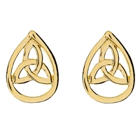 10k Yellow Gold Teardrop Trinity Knot Celtic Stud Earrings