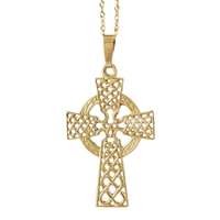 10k Yellow Gold Large Filagree Celtic Cross 32mm