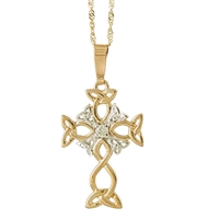 10k Yellow Gold Trinity Knot Diamond Celtic Cross 24mm