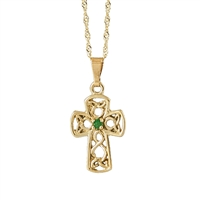 10k Yellow Gold Small Emerald Celtic Cross 18mm