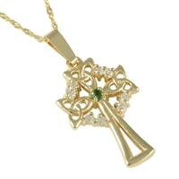 10k Yellow Gold Emerald & CZ Celtic Cross