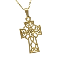 10k Yellow Gold Small Filigree Celtic Cross 21mm