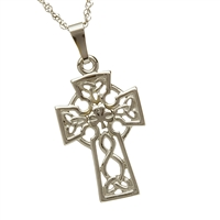 10k White Gold Small Filigree Celtic Cross 21mm