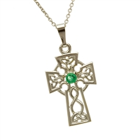10k White Gold Small Emerald Celtic Cross 21mm