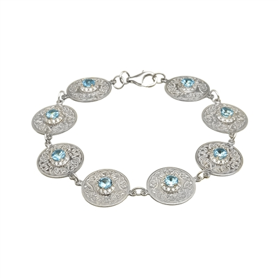 Sterling Silver Blue & White CZ's Small Warrior Shield Celtic Bracelet