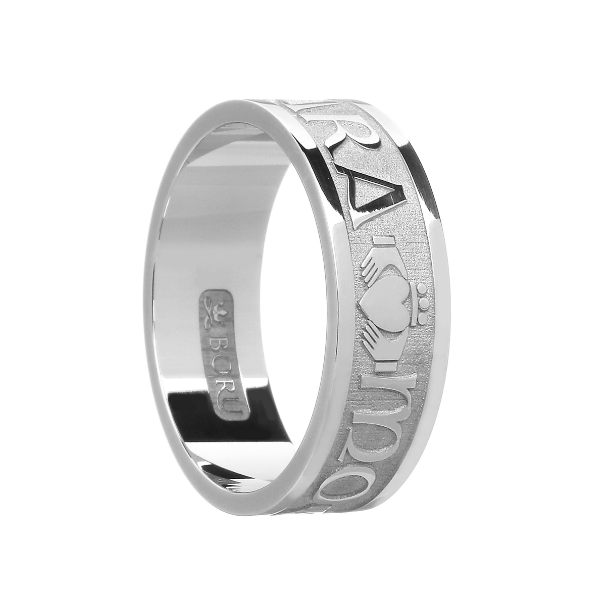 """It is a photo of 31k White Gold """"Mo Anam Cara"""" (My Soul Mate) Mens Celtic Wedding Ring 31.31mm"""