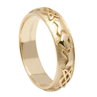 10k Yellow Gold Ladies Celtic Knot Claddagh Wedding Ring 4.8mm