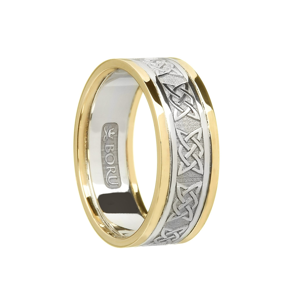 4d16cbf40c6b6 10k White Gold Ladies Lovers Knot Celtic Wedding Ring 9.1mm