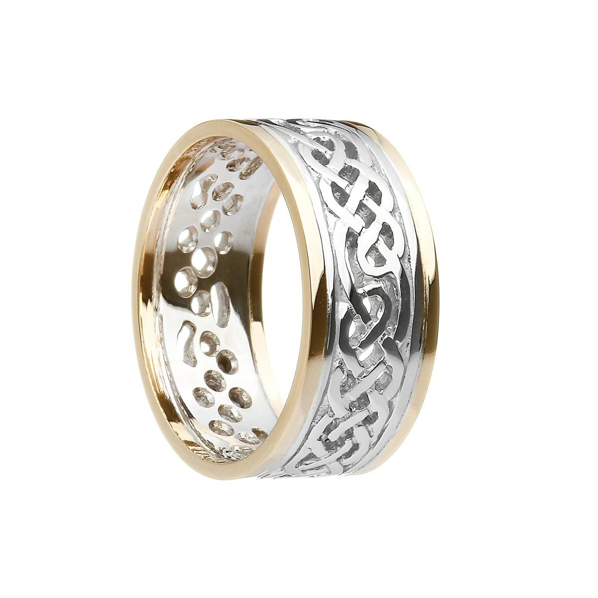 10k White Gold Men\'s Filigree Celtic Knots Wedding Ring 9.3mm