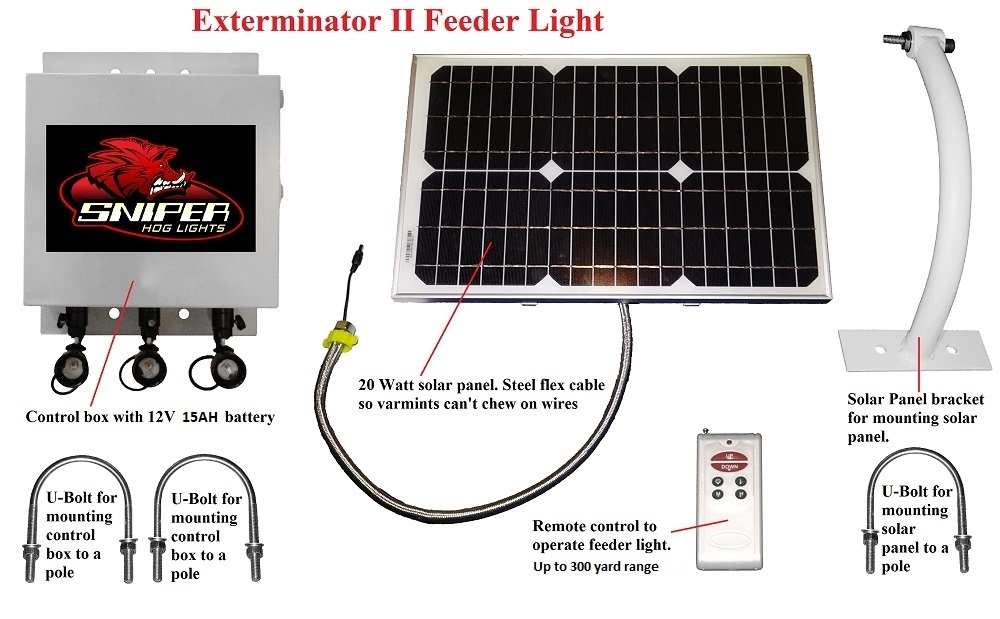 Exterminator Solar Feeder Light In Red Green Ir Or White