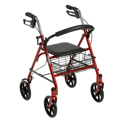 Four Wheel Walker Rollator with Fold Up Removable Back Support, Red