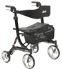 Bariatric 4 Wheel Rollator Nitro HD Black Lightweight Aluminum Frame