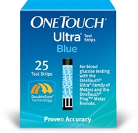 Blood Glucose Test Strips OneTouch Ultra 25 Strips per Box
