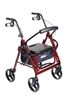 Duet Dual Function Transport Wheelchair Walker Rollator, Burgundy