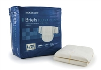 Adult Incontinent Brief McKesson Ultra Plus Stretch Tab Closure Large / X-Large Bag of 20