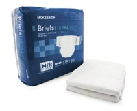 Adult Incontinent Brief McKesson Ultra Plus Stretch Tab Closure Medium Bag of 20