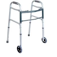 "BodyMed 2 Button Folding Walker with 5"" Wheels"