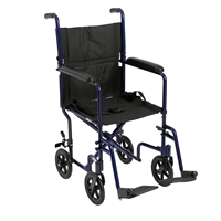 "Lightweight Transport Wheelchair, 17"" Seat, Blue"