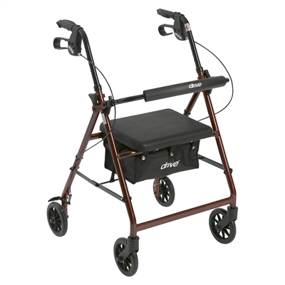 "Walker Rollator with 6"" Wheels, Fold Up Removable Back Support and Padded Seat, Red"