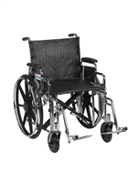 "Sentra Extra Heavy Duty Wheelchair, Detachable Desk Arms, Swing away Footrests, 20"" Seat"