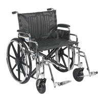 "Sentra Extra Heavy Duty Wheelchair, Detachable Desk Arms, Swing away Footrests, 24"" Seat"