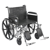 "Sentra EC Heavy Duty Wheelchair, Detachable Full Arms, Elevating Leg Rests, 24"" Seat"