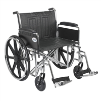 "Sentra EC Heavy Duty Wheelchair, Detachable Full Arms, Swing away Footrests, 24"" Seat"