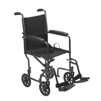 Lightweight Steel Transport Wheelchair, Fixed Full Arms, 17 in seat