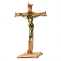 Olive wood gold plated corpus 28 inch crucifix