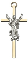 Gold plated Risen Christ 4 inch cross