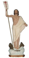 Risen Christ with flag 40 inch resin statue