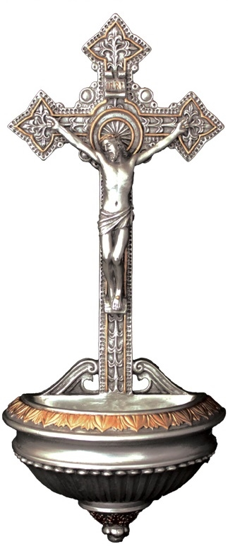 Ornate Crucifix Holy Water Pewter Font