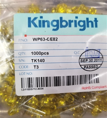 10 Pack Kingbright Yellow 5mm LED's Clipping Diodes LEDs