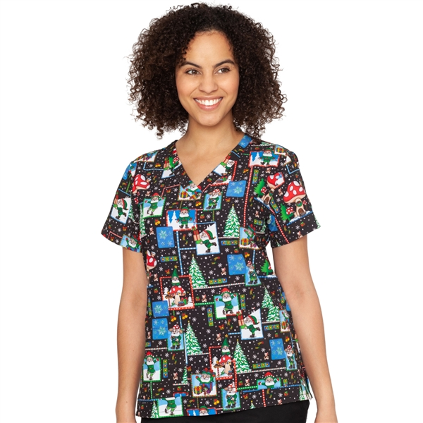 Med Couture  V-Neck Anna Print Top in No Place Like Gnome