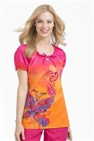 Peaches Suzie Print Top in Tangerine Dreams