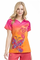 Peaches Natasha  Print Top in Tangerine Dreams